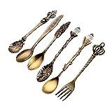 Zent 6 Pezzi Oro intarsio Corona Testa Manico Lungo caffè Cucchiaio da Dessert forchetta stoviglie Posate Occidentali Cucina Cibo da tavola