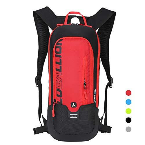 LOCAL LION Fahrradrucksack Skirucksack klein für Damen & Herren 6L Ultraleicht wasserdicht mit Trinksystem für Trinkblase bis 2L - Ideale zum Skifahren | Radsport | Camping rot
