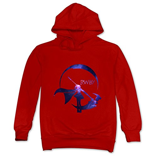 Geek RWBY Starry Crescent Sky Ruby Rose Logo Men's Hooded Hoodies Red Size XXL