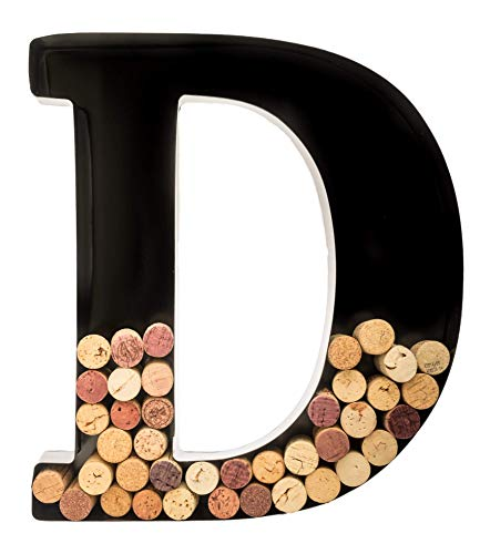 Wine Cork Holder - Metal Monogram Letter (D), Black, Large | Wine Lover Gifts, Housewarming, Engagement & Bridal Shower Gifts | Personalized Wall Art | Home Décor
