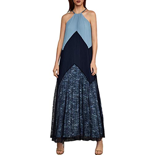 BCBG Max Azria Womens Colorblock Pleated Maxi Dress Navy XXS