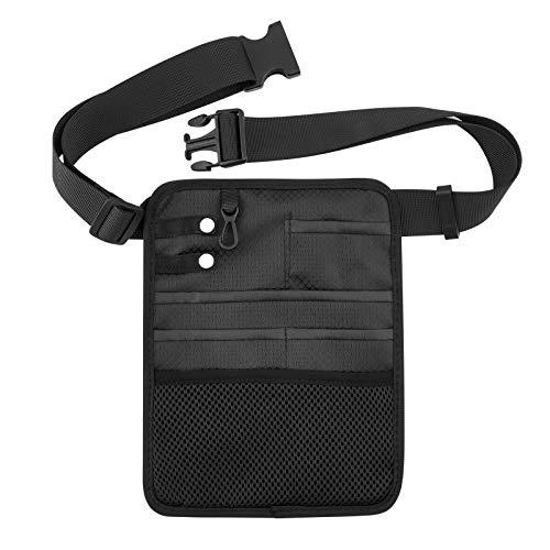 Beautyflier Nylon 6 Pockets Medical Organizer Belt for Nurses, Nurse Organizer Waist Bag Pouch for Medical Scissors Care Kit Accessories Tool Case (Black, 8.5x6.25')