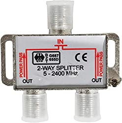 DIGITAL CABLE SPLITTER: This premium signal splitter is able to split a single input coaxial cable signal into two separate signals. Convenient and ideal for those who have the need for additional outputs into two displays from one source. HIGH-SPEED...