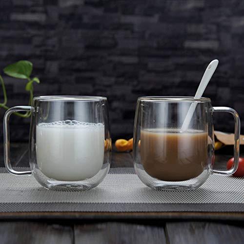 N\C Vidrio de café resistente al calor de doble capa para uso doméstico con aislamiento térmico transparente taza elegante del aislamiento térmico