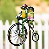 KASUP Vintage Fahrrad Windspiel Metallpfahl Frosch Fahrrad Tier Motorrad eingefügt Gartendeko mit vertikaler Stange Feinabstimmung Gartenstecker Windmühle Outdoor Deko (Frosch)