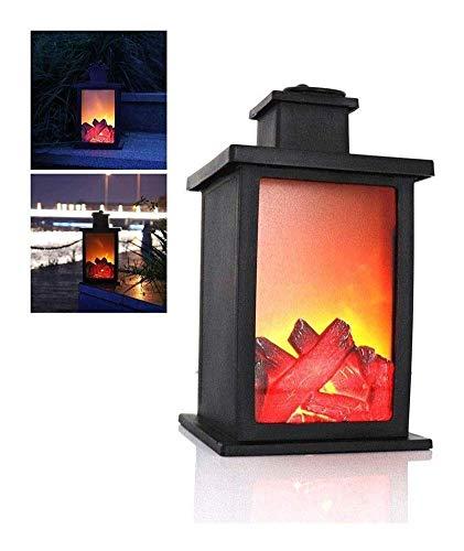 AJH Dancing LED Flame Fireplace Lantern Wood Fireplace Ornament Home Decor Portable Stove