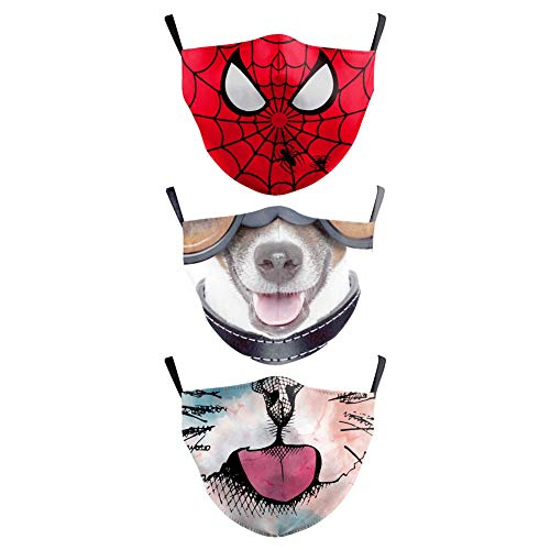 Premium Kids Face Masks/Covering - 3 Pack, Spiderman, Dog face and Cat face. Reusable and Machine Washable. Safe and Comfortable Cloth Mask for Children 3-9 Years Old.