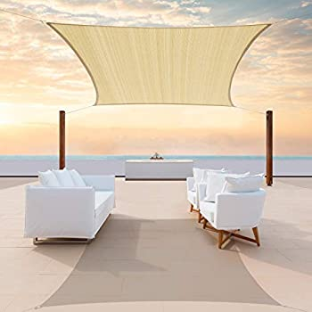 ColourTree 14  x 14  Beige Square Sun Shade Sail Canopy Awning Fabric Cloth Screen - UV Block UV Resistant Heavy Duty Commercial Grade - Outdoor Patio Carport -  We Make Custom Size