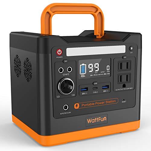 WattFun ポータブル電源 大容量 298 軽量発電機 96000mAh/298Wh 家庭用バックアップ電源 耐高温リン酸鉄リチウムイオン電池 液晶画面表示 純正弦波 AC(320W 瞬間最大420W)/DC/USB/Type-C出力 アウトドア安心ポ