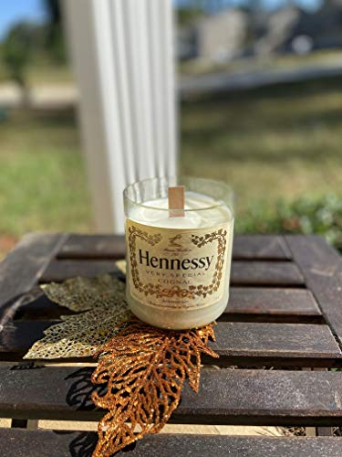 Hand poured soy candle with wooden wick in repurposed glass in scent Mahogany Shea