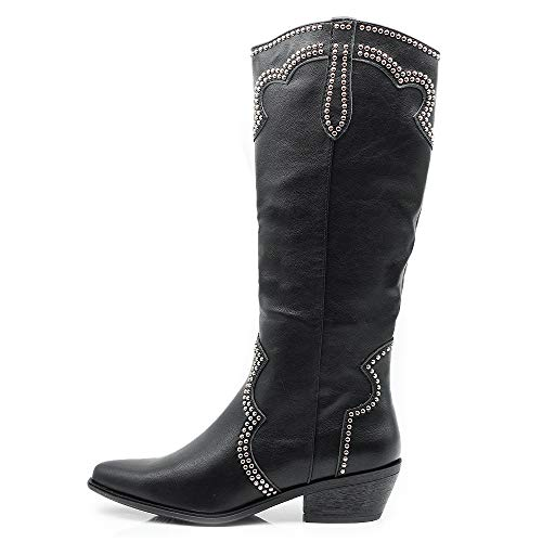 IF Fashion Cowboy Western Scarpe da Donna Stivali Stivaletti Punta Camperos Texani Borchie ML61 Nero N.38