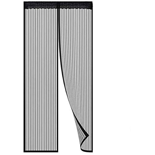 Loboo Idea Magnetic Screen Door for Sliding French Doors, Full Frame Double Door Hook & Loop Bug Screen Mesh Curtain Keep Bugs Mosquitos Out (Fit Door Size up to 39x 82 Inches Max, Black)