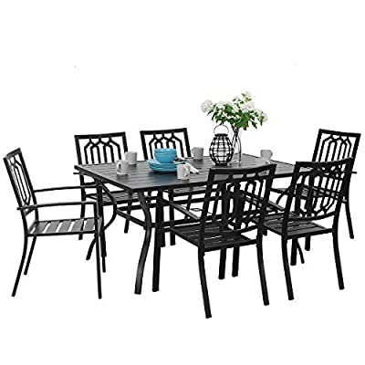 PHI VILLA Outdoor Patio Dining Set 7 Piece with Rectangular Table and 6 Bistro Chairs - Black