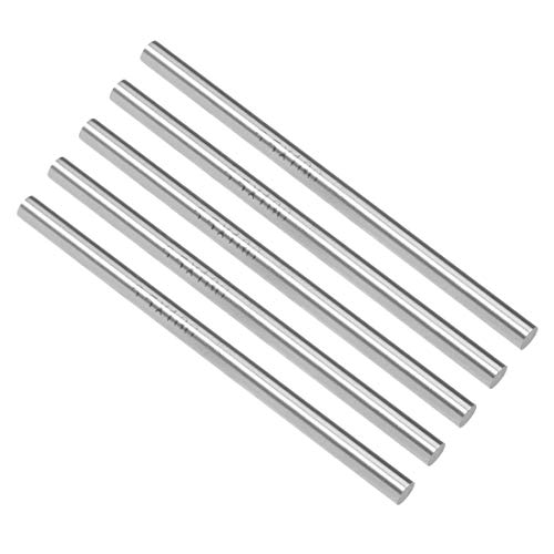uxcell Round Steel Rod, 5.5mm HSS Lathe Bar Stock Tool 100mm Long, for Shaft Gear Drill Lathes Boring Machine Turning Miniature Axle, Cylindrical Pin DIY Craft Tool, 5pcs