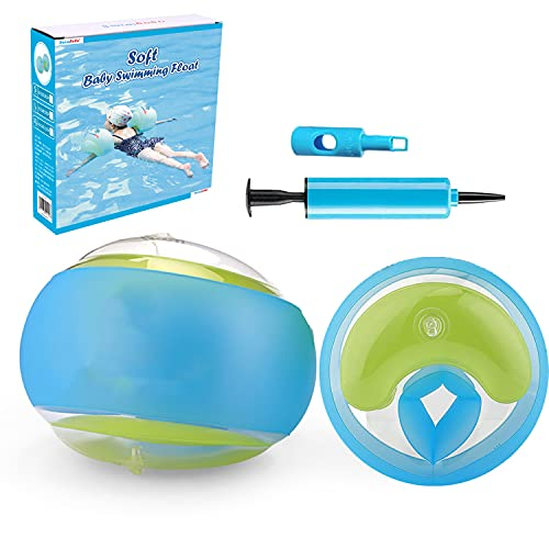 Manguitos de Natación para Niños - Brazaletes de natación inflables - Brazalete Hinchable Flotador - Anillo de natación con Circunferencia del Brazo 21-23cm (Azul)