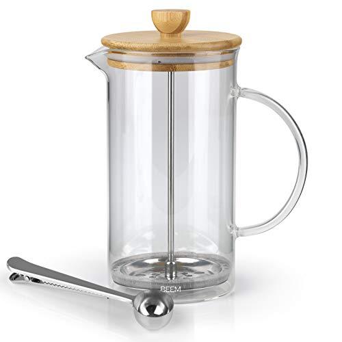 BEEM Coffee Press Kaffeebereiter - 0,35 l oder 1 L wählbar | 2-3 & 8 Tassen | French Press | Bambus | Kaffeepresse | Glaskanne mit Bambusdeckel | Edelstahlfilter (1 Liter)