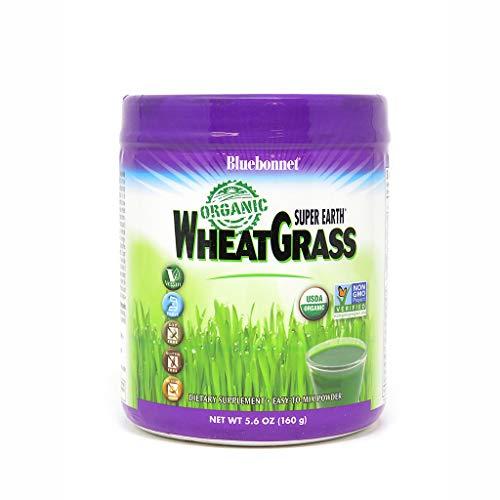 Bluebonnet Nutrition Super Earth Organic Wheatgrass Powder, 35 Servings, Dark Green, 5.6 Oz