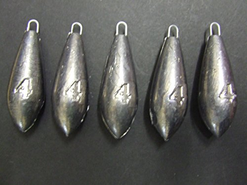FFT PRO 4oz Plain Sea Fishing Weights Pack Of 5 FOR Mackerel Feather Cod Bass Boat Fishing (4oz x 5)