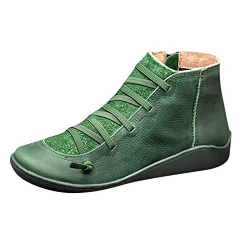 Aniywn Arch Support Boots,Women Low Heels Casual Short Ankle Boots Everyday Waterproof Boots(Green,37)