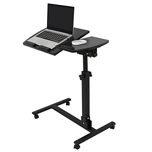 SUPER DEAL Angle & Height Adjustable Rolling Table Desk Laptop Notebook Stand Tiltable Tabletop Desk Sofa/Bed Side Table Hospital Table Stand W/Lockable Casters