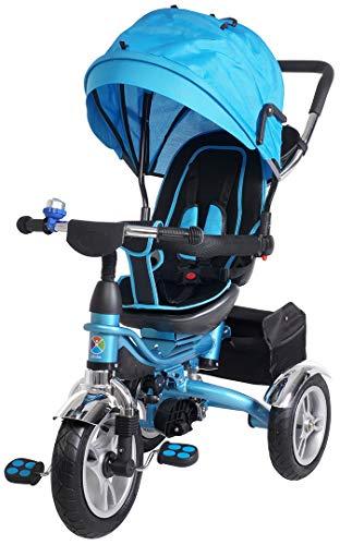 Miweba Kinderdreirad Schieber 7 in 1 Kinderwagen - 360° Drehbar - Faltbar - Luftreifen - Heckfederung - Laufrad - Dreirad - Schubstange - Ab 1 Jahr (KSF10 Faltbar Blau)