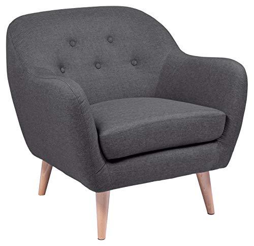 Amazon Brand - Movian Lina - Silla relax, 82 x 84 x 82 cm (largo x ancho x alto), gris, patas de haya lacadas