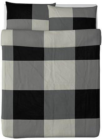 Ikea Super intense SALE Brunkrissla Duvet Cover and Gray Pillowcase Black Full Qu Super sale period limited