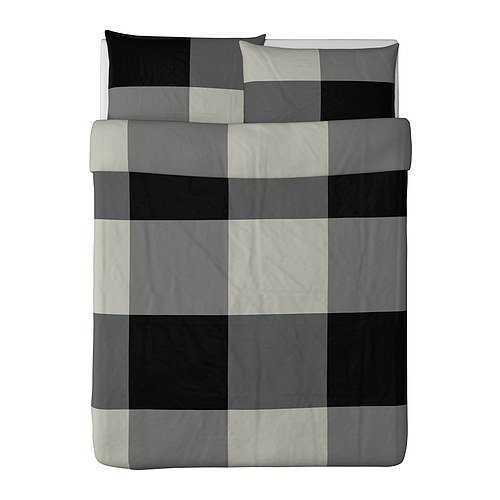Ikea Brunkrissla Duvet Cover and Pillowcase, Black/Gray, Full/Queen (Double/Queen)