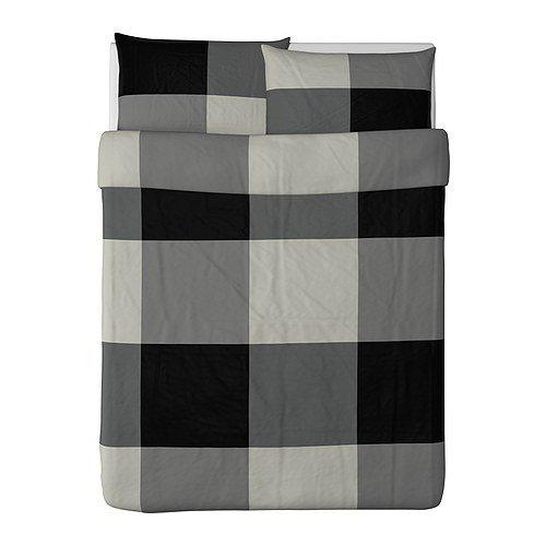 Ikea Brunkrissla 3pc. Queen Duvet Cover and Pillow Cases, Black/g