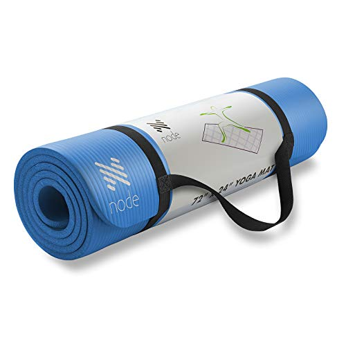 """Node Fitness 72"""" x 24"""" Yoga Mat - 1/2"""" Extra Thick with Carrying Strap - Blue"""
