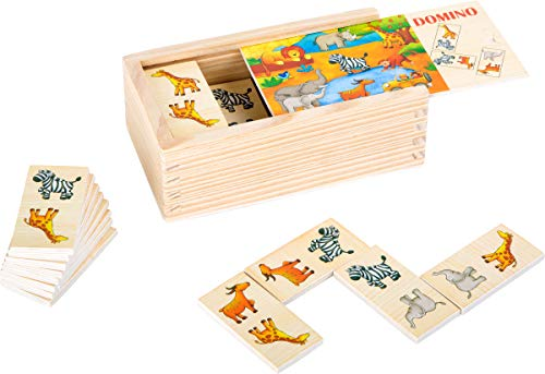 Small Foot 10963 Domino Safari aus Holz mit bunten Tiermotiven, FSC 100%-Zertifiziert Spielzeug, Mehrfarbig