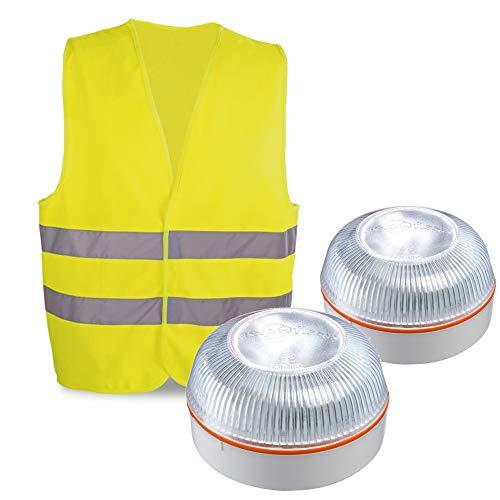 HELP FLASH PK2682 2X luz Emergencia AUTÓNOMA, señal preseñalización Peligro+Linterna, normativa DGT, V16, Base imantada, activación AUTOMÁTICA, y de Regalo, Chaleco Reflectante HOMOLOGADO