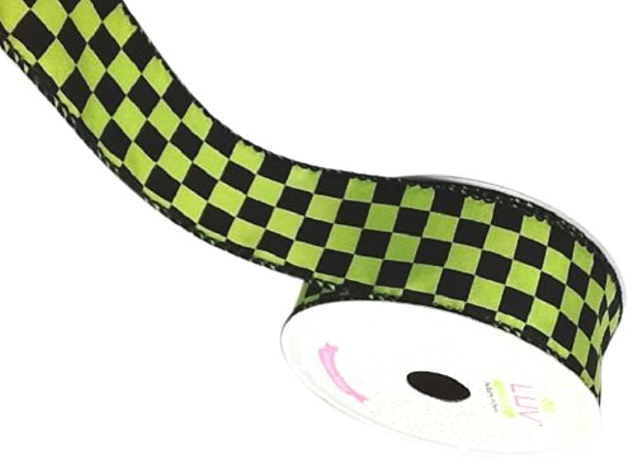 LUV RIBBONS Fabric Ribbon by Creative Ideas, 1-1/2-Inch, Black Checkered, Green