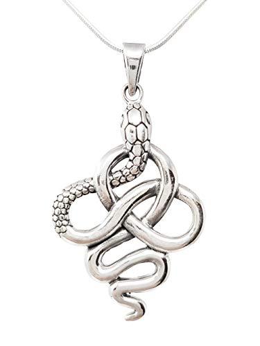TreasureBay Elegante colgante de serpiente de plata de ley 925 para hombre en cadena
