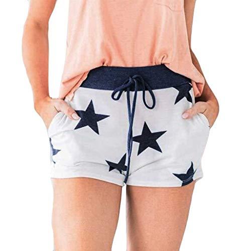 Andouy Damen Sommer Kurze Hosen Tunnelzug Stoffhose Pentagramm Drucken Pajama Shorts Lounge Shorts(L.Weiß)