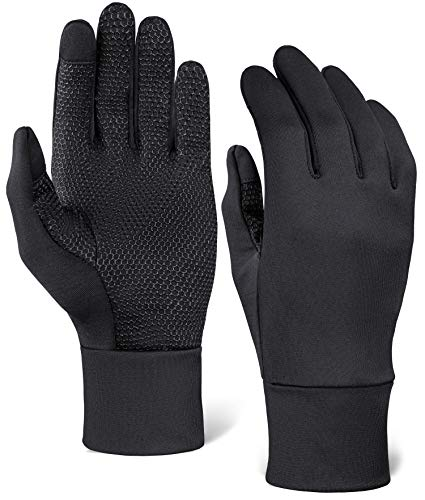 Touch Screen Running Gloves for Men & Women - Thermal Winter Glove Liners for Texting, Cycling & Driving - Thin & Lightweight Warm Hand Gloves - Touchscreen Smartphone Compatible - Super Grippy Palm