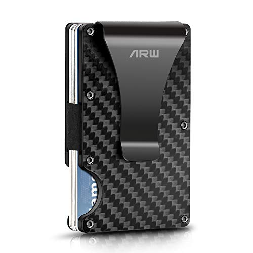 Carbon Fiber Wallet, Metal Money Clip Wallet, RFID Blocking Minimalist...