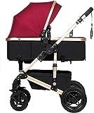 YONGYONGCHONG Carretilla Cochecito de bebé recién Nacido del niño Convertible cochecitos Compacto único Carro de bebé del niño del Carrito silleta Triciclo (Color : Red)
