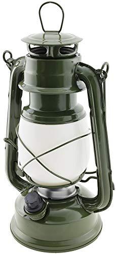 LED Optik Petroleumlampe Retro Army Green Höhe 23,5cm LED Warmweiß Dimmbar Batterien Inklusive, Hängelampe, Notfallleuchte, Tischlampe, Campinglampe