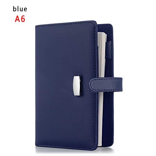 A6 / A7 Leder Notebook, nachfüllbar Journal, Leder Binder Tagebuch, 6 Ring Mode Schreiben Notebook, 190 Gefüttert Beige Seiten (A6, blau)