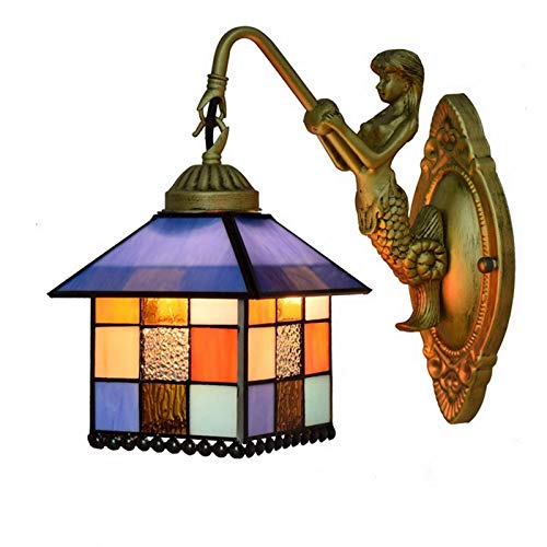 GIOAMH Handmade Stained Glass Shade Single Head Retro Vintage Metall Wall Light Bedside Wall Sconce with Goddess Base for Bedroom,K