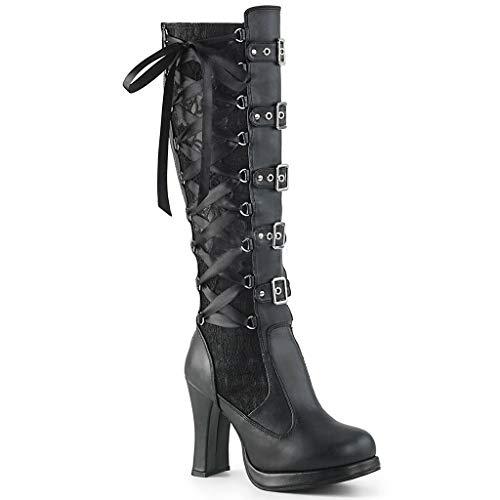 kekison Gothic Stiefel Damen Schwarz Lang Stiefeletten Winter Lederstiefel mit Spitzen Spleißen High Heel Sexy Boots Warme Vintage Cosplay Hoher Absatz Kniehöhe Plateaustiefel