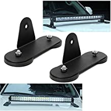 HEQIANG One Pair Magnetic Base Mount Straight/Curved LED Work Light Bar Mounting Brackets for Universal Car Truck Vehicle Windshield Hood Top Powerful Sucker Holder Roof Offroad