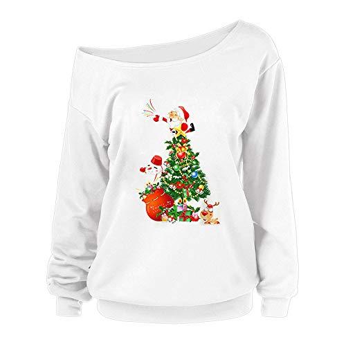OverDose Damen Frohe Weihnachten Frauen Weihnachtsmann Drucken Tägliche Party Active Langarm-Überraschung Sweatshirt Pullover Tops Bluse Shirt Outwear(Weiß,36 DE/S CN)