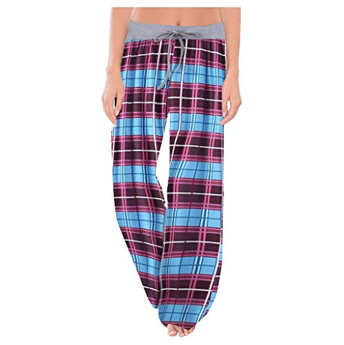 FeiliandaJJ Damen Schlafanzughose Kariert Pyjamahose Lang Freizeithosen Frauen Hausehose Plaid Nachtwäsche Hose für Sport Jogging Training Yoga Winter Sommer (2XL, Himmelblau)