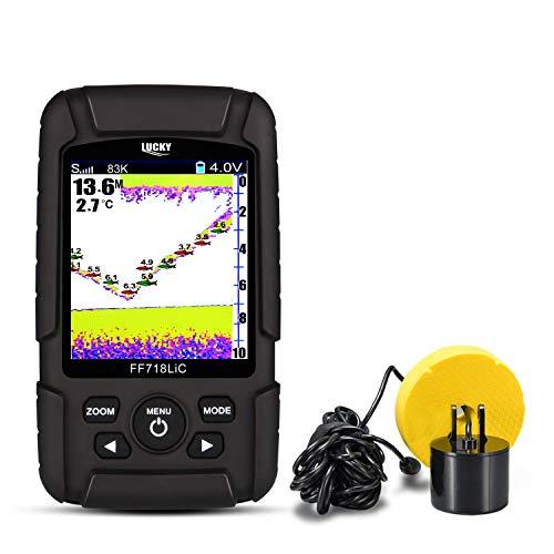 """LUCKY Buscador de Peces 2.8""""Color LCD portátil Fish Finder 200 KHz/83kHz Dual Sonar Buscador de Profundidad de detección de frecuencia 328 pies"""