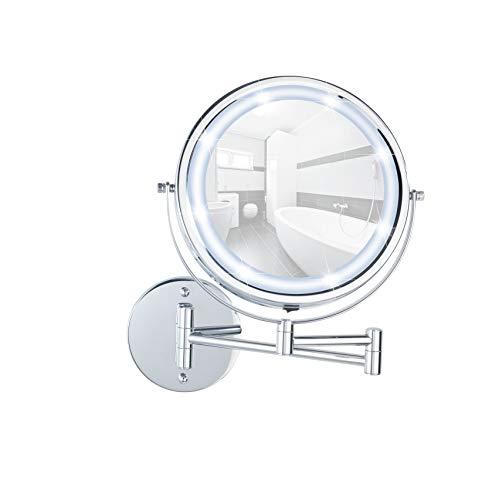 WENKO 3656530100 Power-Loc LED Wandspiegel Lumi - Befestigen ohne bohren, Spiegelfläche ø 17.5cm, 500% Vergrößerung, Stahl, 25.5 x 32 x 4-35 cm, Chrom