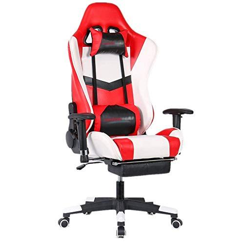ZGQA-GQA. E-Sport Chair Heavy Metal Poltrona reclinabile con schienale alto frame del video gioco Home Office Computer Mobili for ufficio for lavoro Gaming (Colore: Rosso, Dimensione: 70X70X127CM)