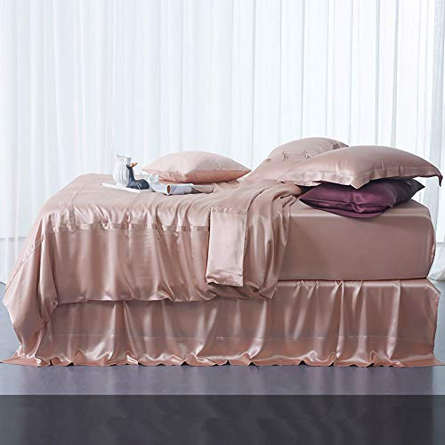 LOVA Home 6Pcs 30 Momme Silk Bed Sheets Seamless Mulberry Silk Flat Sheet Set Top Bottom (Rose Pink, Queen)