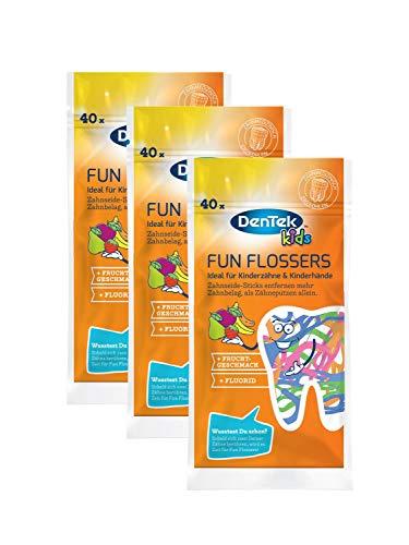 Dentek Fun Flossers Kids - Zahnseide-Sticks speziell für Kinder - mit Fruchtgeschmack - rutschfester Griff - bunte Farben, 3 x 40 Stück